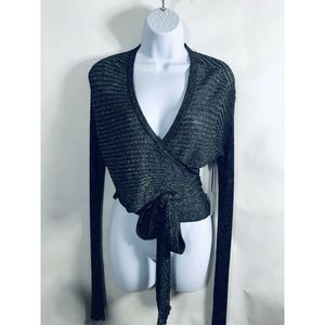 NWT Lovers + Friends Wrap Sweater XL Black Gold
